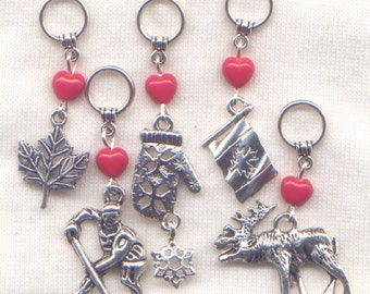 Canadian Stitch Markers No-snag Canada Flag Canuck  Set of 5/SM141