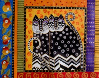 Large Twin Fantasy Cats Iron On Fabric Applique 7""