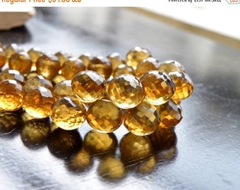 Clearance SALE Beer Quartz Gemstone Briolette Faceted Onion 8 to 9mm 17 beads