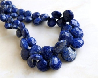 Clearance SALE Lapis Briolette Gemstone Faceted Heart Top Drilled 8.5 to 9mm 18 beads