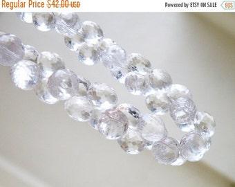 SALE 31% Off Rock Crystal Quartz Gemstone Briolette Faceted Onion 9.5mm Full Strand 42 beads