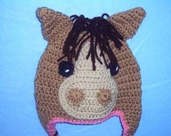 Pony Hat, Crocheted Pony Hat, Horse Hat, Girls Crocheted Horse Hat, Farm Animal Hat, Baby Photo Prop, Country Baby, Cowgirl