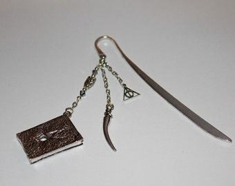 Unique Tibetan Silver Bookmark With Tom Riddle Diary And Basilisk Fang