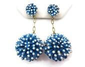 1960s Mod Flower Earrings - Vintage, Costume Jewelry, Blue Enamel White Polka Dots, Long Dangles