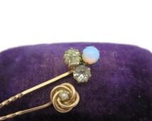 Victorian Stick Pins - Vintage Paste Stones, Pearl, Faux Opal, Clover