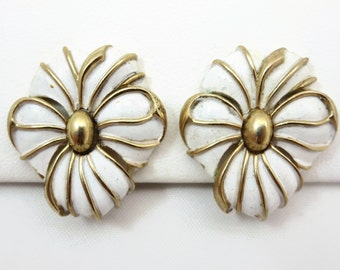 Costume Jewelry Flower Earrings - Vintage Trifari, White Enamel Flowers