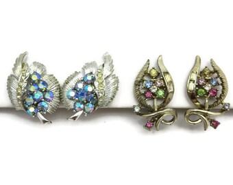 Vintage Coro Clip Earrings - Rhinestones