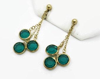 Glass Gem Earrings - Vintage Bezel Set, Green