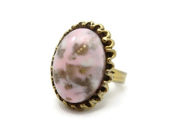 Pink Art Glass Ring - Adjustable, Gold Tone, Costume Jewelry AS IS