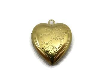 Heart Locket - Victorian Revival, Gold Tone, Costume Jewelry