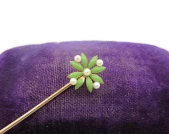 Gold Pearl Stick Pin - Antique, Green Enamel Flower, Seed Pearls, 14k Gold, June Birthstone, Fine Estate Jewelry