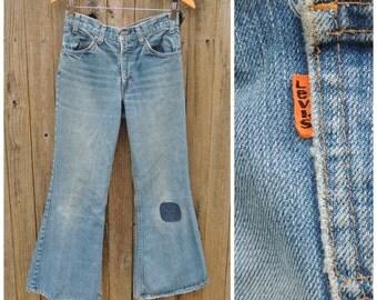 "Vintage Levi's Bell Bottom Jeans  //  Vtg 70s Orange Tab Levi 684 Hige Distressed Bellbottoms with Patch Repair  //  31"" waist"