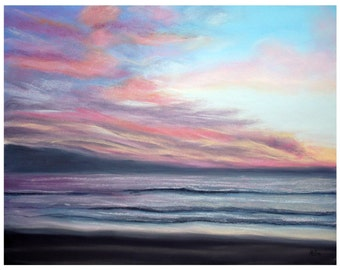 Sunset Beach Painting Print