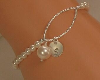 Initial Charm Silver Bracelet, Bridesmaid Personalized Bracelet, Wedding Bracelet, Mother of Bride, Mother of Groom, Sterling Silver, Pearls