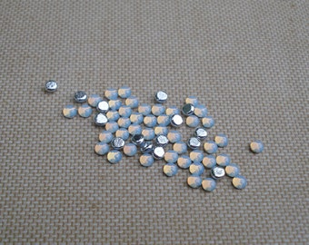 12 Tiny 3mm White Opal Pinfire Silver Foiled Flat Back Round Glass Cabs