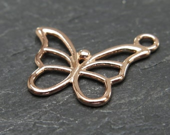 Rose Gold over 925 Sterling Silver Butterfly Charm 15mm (CG7753)