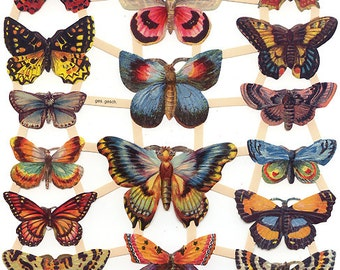 Germany Paper Scraps Lithographed Die Cut Victorian Butterflies  7426