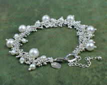 Sterling silver freshwater pearl bracelet, silver droplet pearl statement bracelet, bridal bracelet, wedding jewellery,  Shimmer Collection