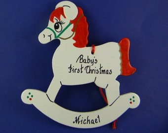 0008 Rocking horse. Free shipping. Message shown is a suggestion. Ornaments can be written with a message/name/date of your choice.