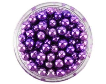 Purple Dragees 1oz - shiny metallic purple sugar pearls sprinkles balls for topping cakes, cupcakes, cookies, and cake pops