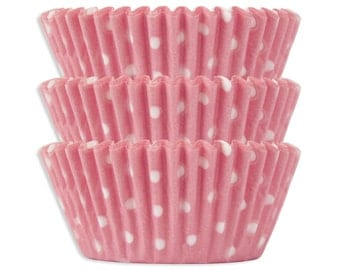 Light Pink Polka Dot Baking Cups - 50 pastel pink polka dot cupcake liners