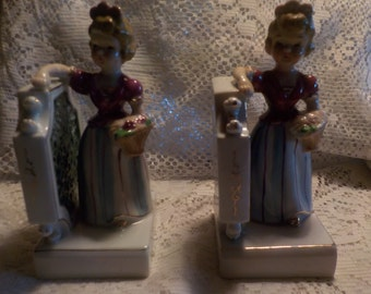 Bookends Pair of ESD Bookends China Bookends Gold Trimmed Girl Bookends Two Bookends