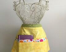 Apron Waist Half Art Craft Vendor Teacher iPad Device Yellow Polka Dots Fabric (6 Pockets)