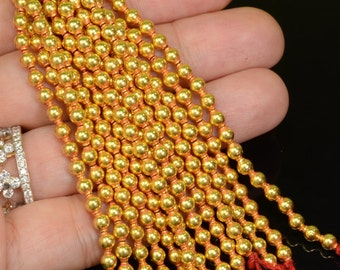 18k Solid Yellow Gold 3.5MM Fancy Lantern Spacer Beads 3 INCH Strand (19)