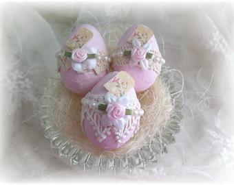 Shabby Chic Easter Eggs ~ Set of 3 ~ Pink Easter Eggs ~ Easter Decor ~ Egg Bowl Fillers ~ Spring Decoration