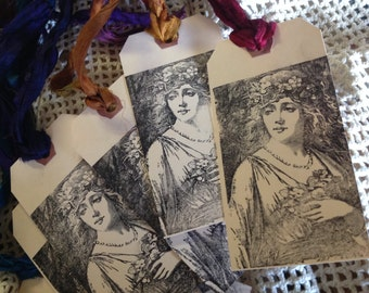 SET OF 6 - Lovely Renaissance Maiden - Gift Tags - Sari Silk Ties