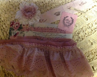 Variety of Pinks - French Inspired Hand Stamped Trim - Ruffle Lace Flower - Happy Everything Ribbon