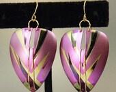 Vintage Holly Yashi Purple Niobium Earrings Bamboo Design