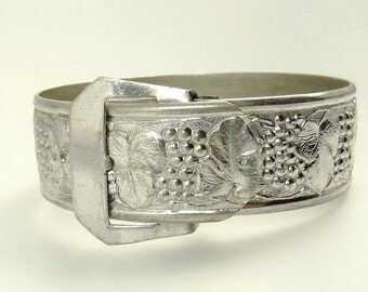 Vintage Chrome Buckle Bracelet Grapevine Bangle Bracelet