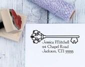 Personalized Address Stamp - Vintage Skelton Key, Housewarming Gift, Wooden Stamp, Self Inking Stamp, Rubber Stamp, Return Address Stamp