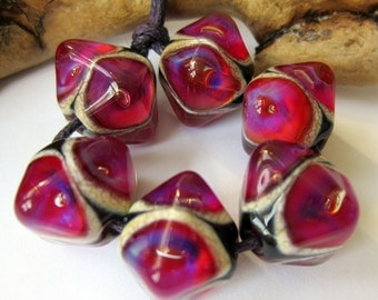 Fashion Fuchsia Crystals   - Set of 6 Lampwork Beads