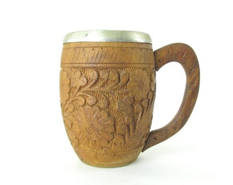 Vintage Hand Carved Floral Wood Beer Mug Cup with Aluminum Insert