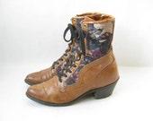 Vintage 80s Capezio Two Tone ROPER BOOTS. Size 8 1/2