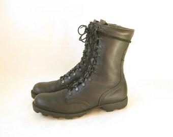 Vintage 80's Military Black Leather COMBAT BOOTS. Size 10 1/2  MEN'S
