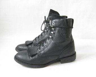 Vintage Ariat Black Lace Up ROPER BOOTS.  Size 7 Women's