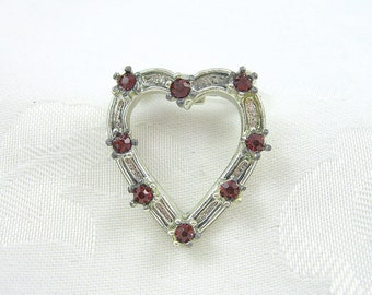 Vintage Rhinestone Heart Pin Ruby Silvertone Restored