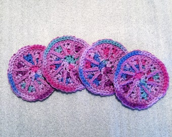 JEWEL TONE WHEELS Cotton Crochet Coaster Set of 4 for home, housewarming, birthday