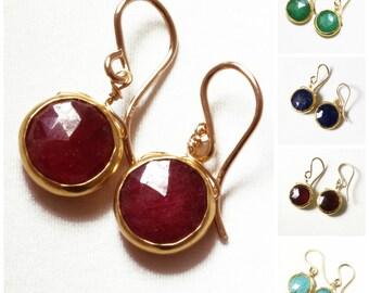 Red Ruby Earrings 18k Gold Real Rubies Precious Gemstone Earrings July Birthstone Genuine Ruby Earrings Bezel Ruby BZ-E-105-Ruby/g