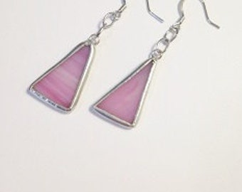 Small Pink Stained Glass Earrings