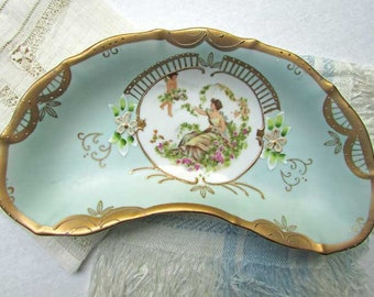 Vintage 1950's  Hand Painted China Small Half Moon Shape Trinket or Pin Dish, Woman, Cherub, Garden Scene, Celadon Green and Gilt Decoration