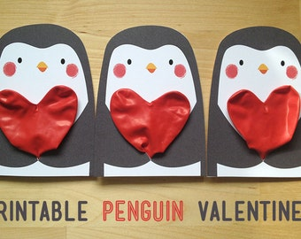 Printable Valentine's Cards - Penguins