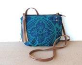 date purse  • small crossbody bag - geometric floral print • blue canvas - hand screenprinted - teal - gifts under 50 • talavera