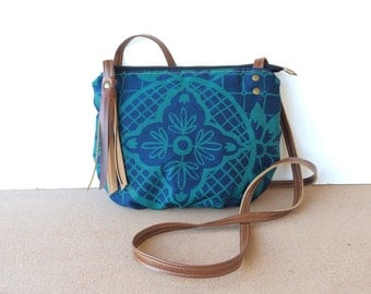date purse  • small crossbody bag - geometric floral print • blue canvas - hand screenprinted - teal - gifts under 50 • talavera