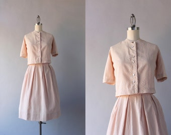 1960s Seersucker Dress Set / Vintage 60s Striped Cotton Blouse and Skirt Set / 60s Nude Stripe Suit Set