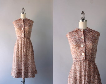Vintage 50s Dress / 1950s Sheer Shirtwaist Dress / 50s Cotton Day Dress