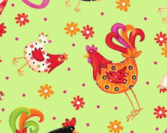 Roosters Lime Pecking Order Quilting Treasures Fabric 1 yard